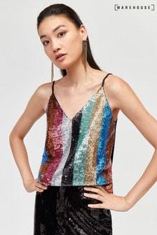Warehouse Black Rainbow Sequin Cami Top