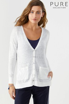 Pure Collection White Linen Boyfriend Cardigan