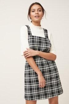 Check Jacquard Pinny Dress