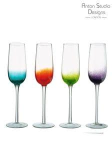 Set of 4 The DRH Collection Anton Stusio Designs Champagne Flutes