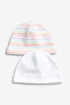 Spot And Stripe Beanie Hats Two Pack (0-18個月)