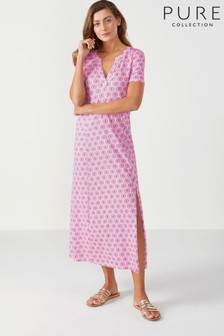 Pure Collection Pink Jersey Open V-Neck Maxi Dress