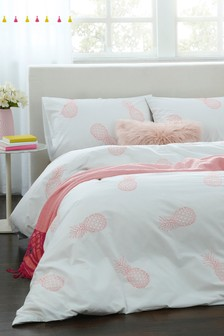 Embroidered Pineapples Duvet Cover and Pillowcase Set