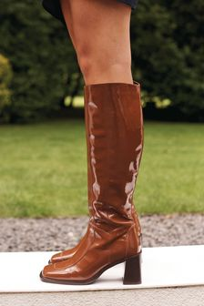 Signature Leather Square Toe Knee High Boots