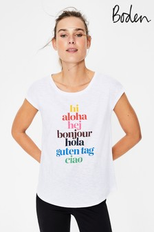 Boden White Robyn Jersey Tee