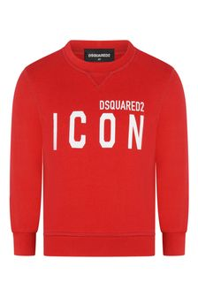Kids Red Cotton Icon Sweater