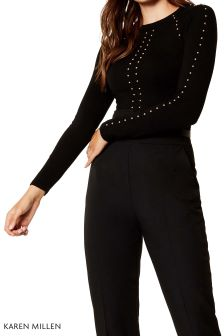 Karen Millen Black Stud Detail Knit Jumper