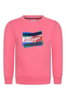 Tommy Hilfiger Girls Pink Cotton Sweatshirt