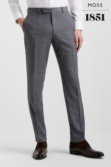 Moss 1851 Tailored Fit Grey With Blue Windowpane Trouser