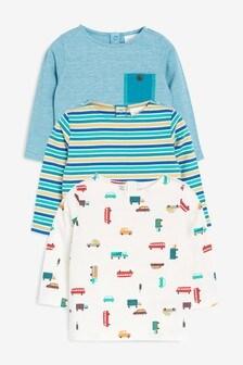 Stripe And Car Print T-Shirts Three Pack (0mths-2yrs)