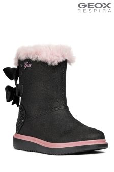 Geox Thymar Girl  Black Fur Lined Boots
