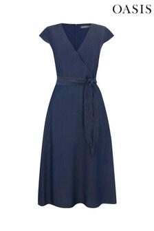 Oasis Blue Belted Midi Dress
