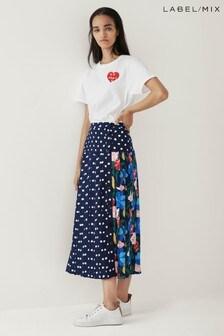 Mix/Kitri Studio Polka Dot Floral Pleat Skirt