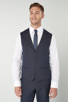 Tailored Fit Check Suit: Waistcoat