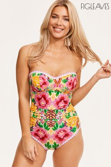 Figleaves Yellow Frida Underwired Bandeau Swimsuit