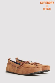 Superdry Tan Moccasin Slippers