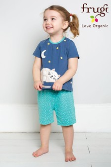 Frugi Blue Organic Short Pyjama Set With Cat Appliqué