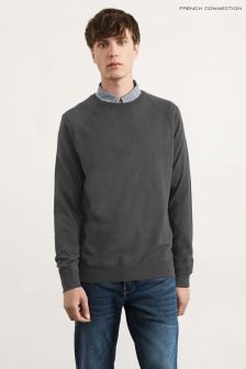 French Connection Charcoal Mel Knitted Stretch Cotton Crew Neck