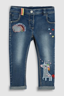 Unicorn And Rainbow Embroidered Jeans (3mths-7yrs)