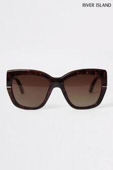 River Island Brown Print Emma Monogram Tortoiseshell Sunglasses