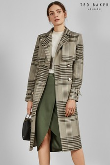 Ted Baker Natural Cristta Buckle Cuff Check Trench Coat