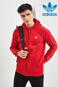 adidas Originals Red 3 Stripe Zip Through Hoodie