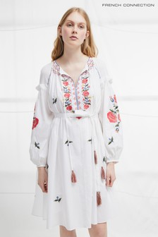 French Connection White Edessa Cotton Folk Dress