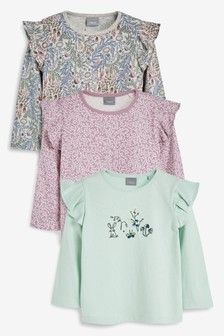 3 Pack Floral Long Sleeve T-Shirts (3mths-7yrs)