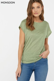 Monsoon Ladies Green Lily Linen T-Shirt