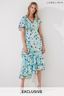 Mix/Natasha Zinko Floral Print Ruffle Dress
