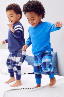 2 Pack Waffle Top Check Woven Pyjamas (9mths-16yrs)
