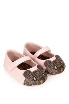 Fendi Kids Baby Girls Pink Leather Shoes
