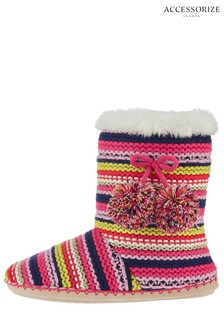 Accessorize Pink Knitted Stripe Slipper Boot