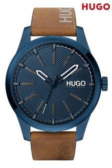 HUGO Invent Leather Logo Strap Watch