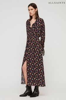 AllSaints Black Textured Spot Kristen Dress