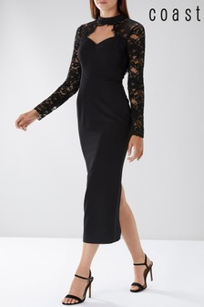 Coast Black Koyla Lace Sleeve Maxi Dress