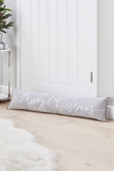 Merry Christmas Soft Velour Pom Edge Doorstop