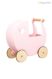 Pink Wooden Toy Dolls Pram by Hippychick