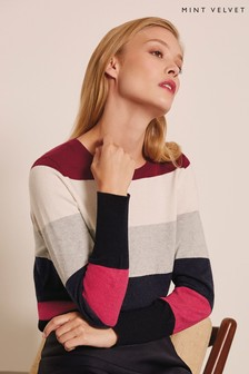 Mint Velvet Pink Coloured Stripe Crew Neck Knit Jumper