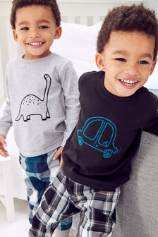 2 Pack Car/Dino Check Woven Pyjamas (9mths-8yrs)