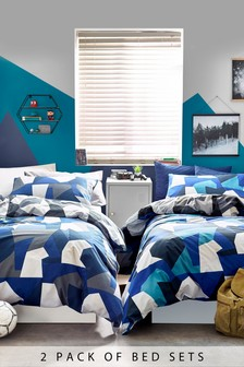 2 Pack Geometric Camo Reversible Duvet Cover and Pillowcase Set