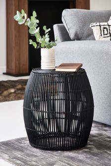 Black Rattan Side Table