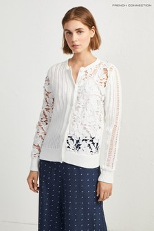 French Connection White Patchwork Mozart Cardigan