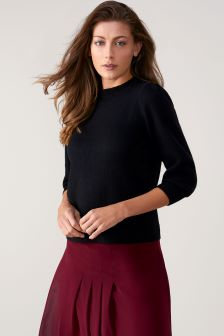 Pure Collection Black Toccato Blouson 3/4 Sleeve Sweater