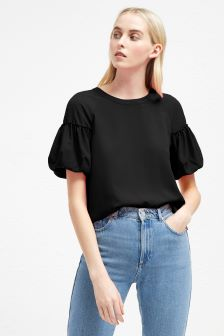 French Connection Black Crepe Light Puff Sleeve Top