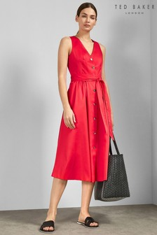 Ted Baker Red Button Midi Dress