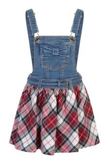 Girls Blue Denim & Tartan Dungaree Dress