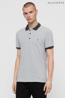 AllSaints Grey/Black Contrast Orlando Polo Shirt