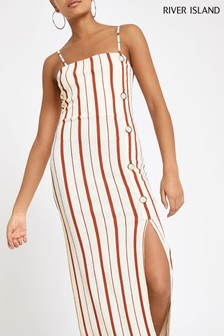 River Island Rust Stripe Button Dress