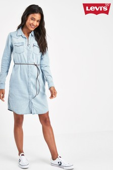 Levi's® Light Wash Western Denim Shirt Dress